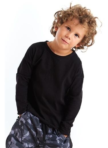 Colorinas Unisex Basic Dikiş Detaylı Tshirt Siyah Siyah